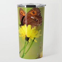 Arran Brown butterfly and yellow flower Travel Mug