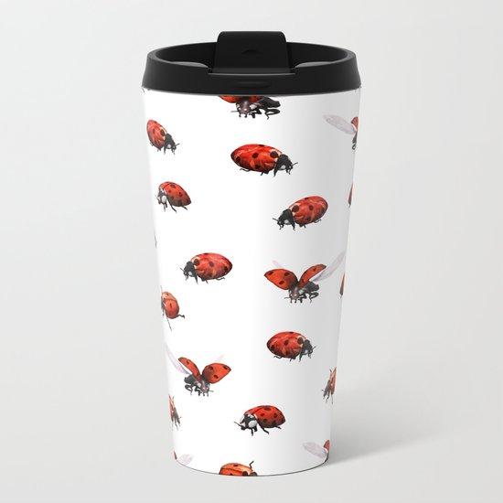 Ladybug Pattern Metal Travel Mug