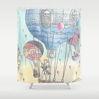 hot air balloon Shower Curtains featuring Hot air balloon party by Dreamy Me