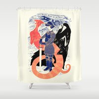 knight Shower Curtains featuring The Knight, Death, & the Devil by Andrew Henry