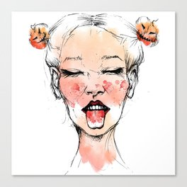 Happy Halloween Pumpkin Hair Buns Canvas Print