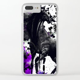 HORSE BLACK AND PURPLE THUNDER INK SPLASH Clear iPhone Case