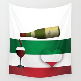 Italian Flag, Heart and Red Wine Wall Tapestry