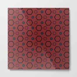 Red Multi Hexagon Design Metal Print