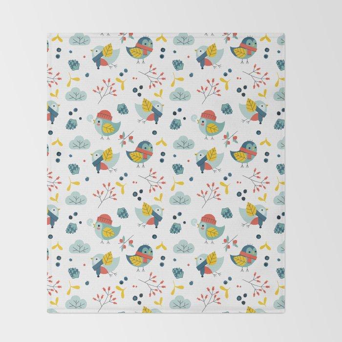 winter birds pattern Throw Blanket