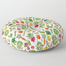 Vegetable Garden - Summer Pattern With Colorful Veggies Floor Pillow