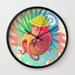 Octopus on the Beach Wall Clock