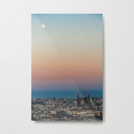 Barcelona Moonlight Metal Print