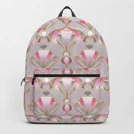 Rose Pink, Grey and Gold Art Deco Backpack