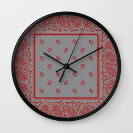Classic Gray and Red Bandana Wall Clock