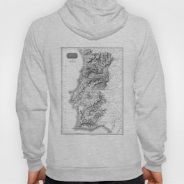 Vintage Map of Portugal (1818) BW Hoody