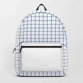 Dotted Grid Boarder Blue on White Backpack