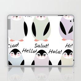 Funny penguins on white background. Hello in English Spanish Italian German French Language. Laptop & iPad Skin