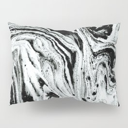 marble black and white minimal suminagashi japanese spilled ink abstract art Pillow Sham