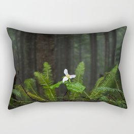 White Flowered Trillium Ovatum on the Edge of a Ledge in Lush Green Oregon Forest Rectangular Pillow