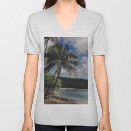 Hawaii Haze - Tropical Beach with Palm Trees Unisex V-Neck