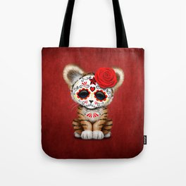 Red Day of the Dead Sugar Skull Tiger Cub Tote Bag