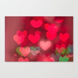 red love background of the hearts on Valentine's day Canvas Print