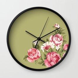 Pink Roses and Daisies Wall Clock