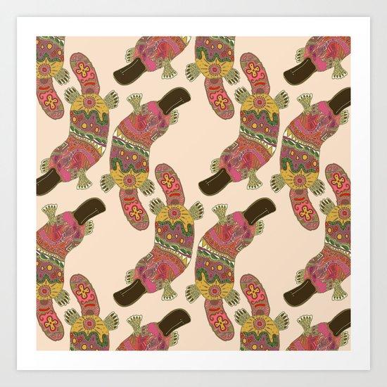 duck-billed platypus linen Art Print