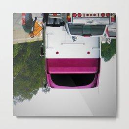 Upside Down Truck Smiley Metal Print