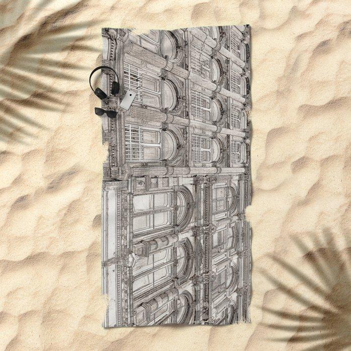 Facades - line art Beach Towel