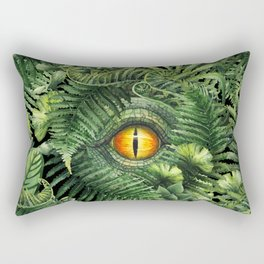 Watercolor dinosaur eye and prehistoric plants Rectangular Pillow