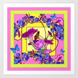 Blue Morning Glories Butterfly Yellow Patterns Pink Art Art Print