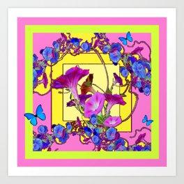 Blue Morning Glories Butterfly Yellow Patterns Pink Art Art Print