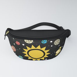 Solar System Planets Sun and Moon Fanny Pack