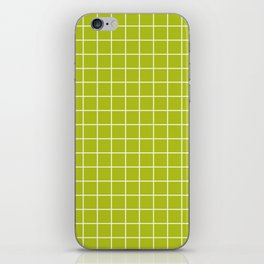 Acid Green - Green Color - White Lines Grid Pattern iPhone Skin
