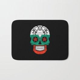 Sugar Skull with Roses and Flag of Bulgaria Bath Mat