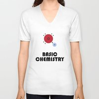 chemistry V-neck T-shirts featuring Basic Chemistry by Oinkasaurus