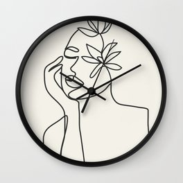 Abstract Minimal Woman I Wall Clock