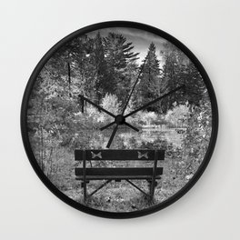 Park Bench and Pond Landscape in Infrared Black and White Wall Clock