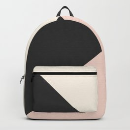 Geometrical coral ivory black modern color block Backpack