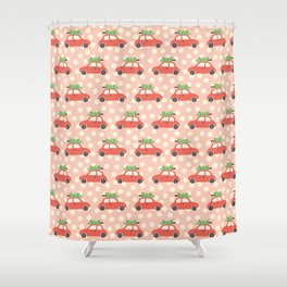 Red Vintage Holiday Christmas Cars Shower Curtain