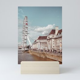 Postcard Picture of the London Eye & The Thames, moody blue tint Mini Art Print