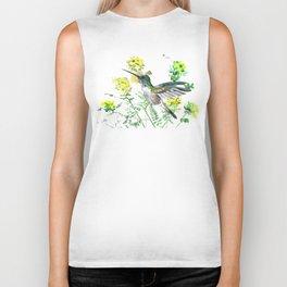 mmingbird design green yew Hummingbird and Yellow Flowers Biker Tank
