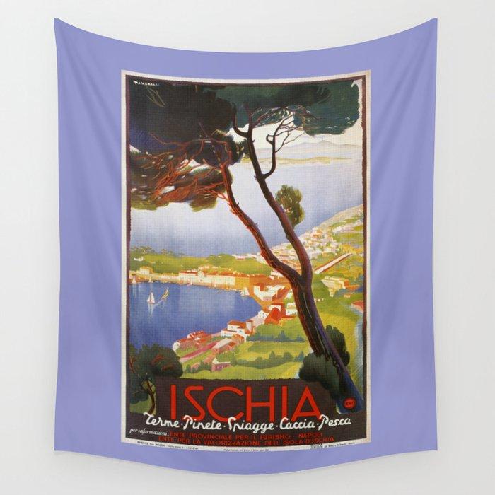 Ischia Island Italy summer travel ad Wall Tapestry