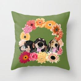 Bluetick Flower Wreath Throw Pillow