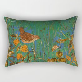 Winter Glimpses - Wren and Physalis Rectangular Pillow