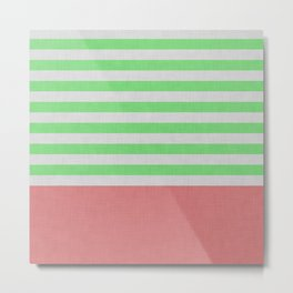 Green and orange stripes and color block Metal Print