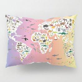 Cartoon animal world map for children and kids, back to school. Rainbow. Scandinavian decor. Pillow Sham