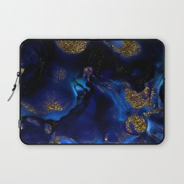 Gold and Indigo Malachite Marble Laptop Sleeve