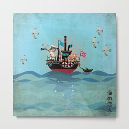 Sea Lover Retro Japanese illustration Metal Print
