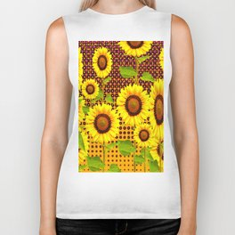 SPICE BROWN SUNFLOWERS ART Biker Tank