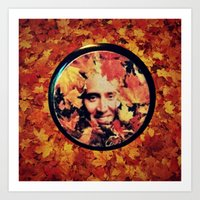 "nicolas cage Art Prints featuring Nicolas cage eyeshadow: ""Nic Cage Raking Leaves On a Brisk October Afternoon"" by Paris Noonan"