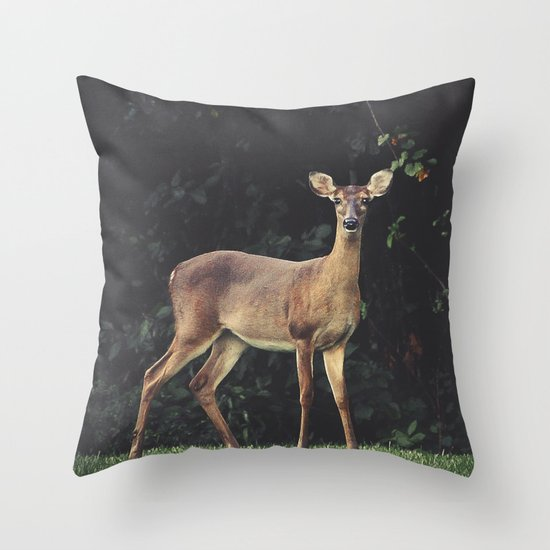Throw Pillows Deer : Deer Throw Pillow by BURNEDINTOMYHE?RT Society6