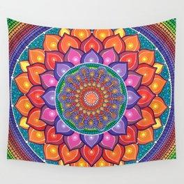 Lotus Rainbow Mandala Wall Tapestry